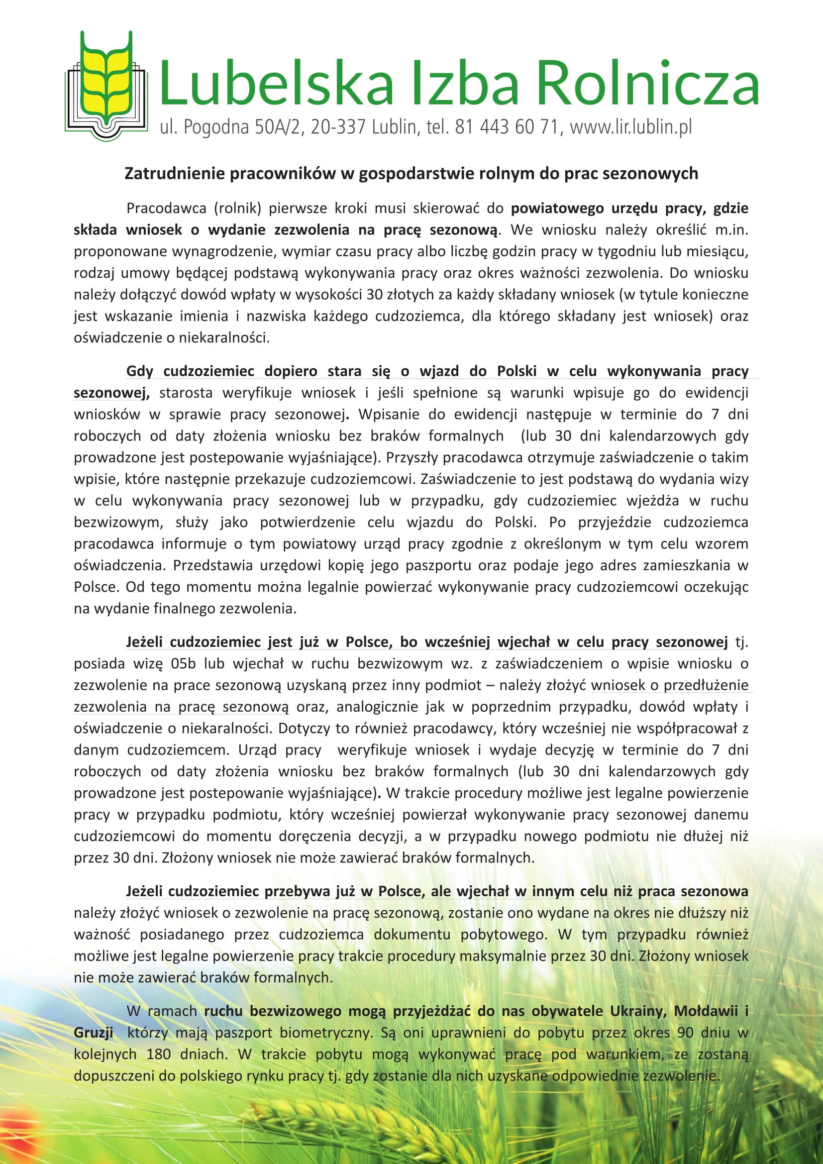 LIR ulotka A4 zatrudnienie w gospodarstwie rolnym 4 1