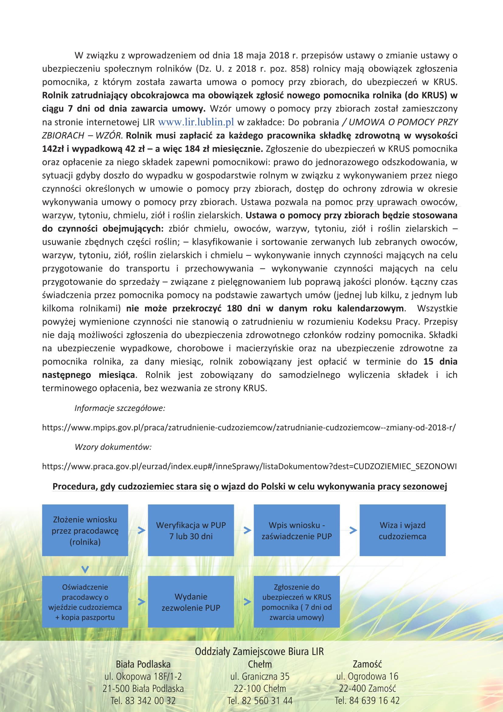 LIR ulotka A4 zatrudnienie w gospodarstwie rolnym 4 2